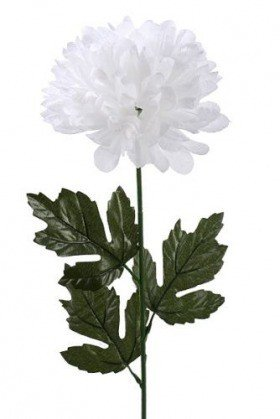 Chrysanthemum, artificial single flower, 16/40 cm white