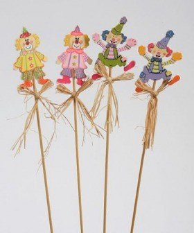Clowns on stick with natural raffia