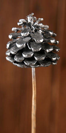 Cone on stick, 3pcs/pkg  7cm/50cm - silver
