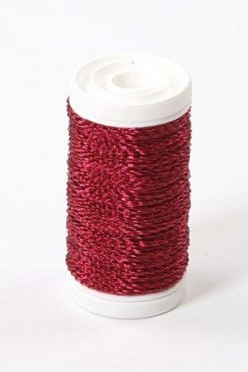 Copper floristic wire restrained on a 75g spool - burgundy 70-80 meters