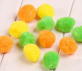 Cotton balls, green orange, yellow mix (12pcs/pkg)