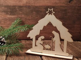 DIY wooden Christmas decorations Christmas figurine. Wooden stand, 20 cm