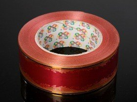 Decorative grave tape with a gold stripe 40 mm, length 45 m – claret