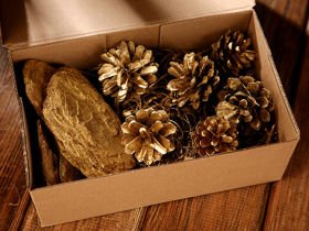 Decorative set, forest style, gold