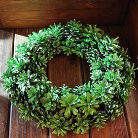 Door wreath. Green cones wreath 25 cm