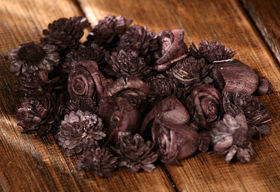Dried flowers, 2-3 cm, ca. 30 pcs/pkg brown