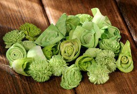 Dried flowers, 2-3 cm, ca. 30 pcs/pkg light green
