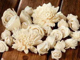 Dried flowers white 2-6 cm, ca 60/ pkg