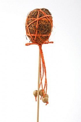 Egg with beads on stick - orange