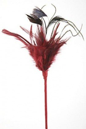Feathers on stick, maroon, 45 cm