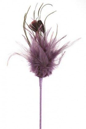 Feathers on stick, violet, 45 cm
