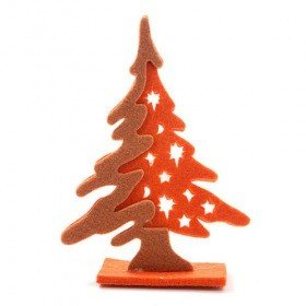 Felt Christmas tree, 15 cm, orange