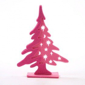 Felt Christmas tree, pink, 20 cm