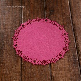 Felt mat with stars dark pink  20cm