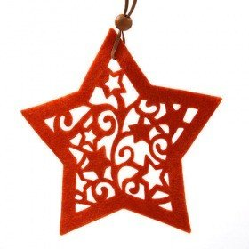 Felt star - hanger, orange, 15 cm