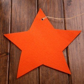 Felt star - orange hanger 20-25 cm