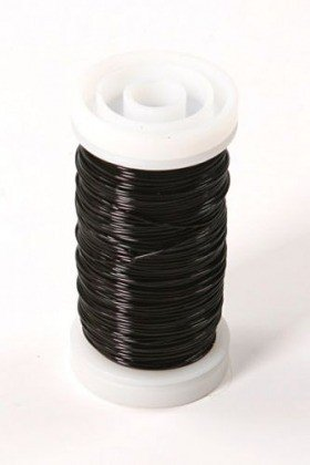 Floral copper wire on spool 75 g - black  70-80 m