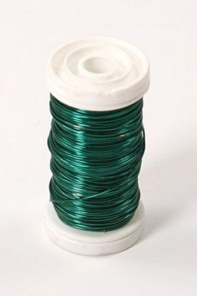Floral copper wire on spool 75g - green