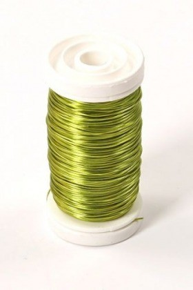 Floral copper wire on spool 75g - lime colour