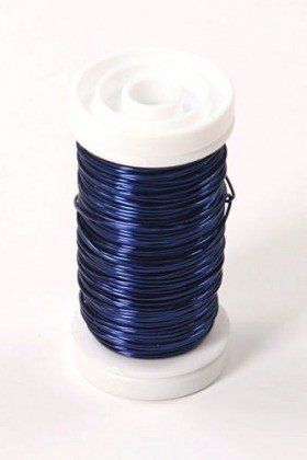 Floral copper wire on spool 75g - navy blue
