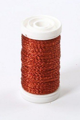 Floral copper wire, on spool, 75g - orange