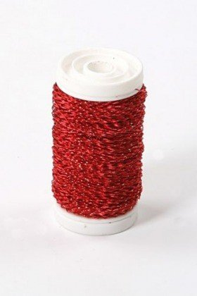 Floral copper wire on spool 75g - red 70-80 g