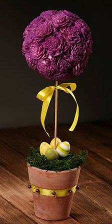 Flower ball in flower pot - purple 35-40 cm