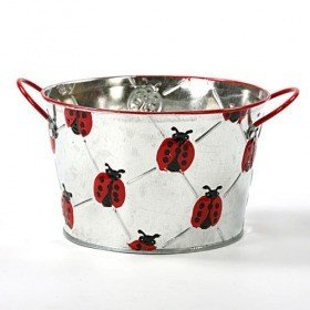 Flower pot cover with ladybird design, ellipse 16 cm