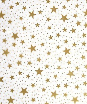 Foil film 50 x 70 cm with a stars, 50 sheets/pkg - gold