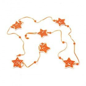 Garland orange 6 stars with beads 180 cm