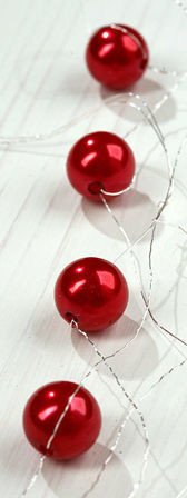 Garland pearls 200 cm - red