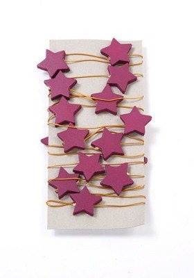 Garland wooden stars on wire 220 cm