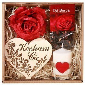 Gift Set Tea from the Heart 50g, Wooden, natural heart with an inscription 15/17 cm, fragrant satin rose 10-14 cm