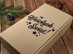 Gift box filled with wood wool 10x 21 x 37.5 cm
