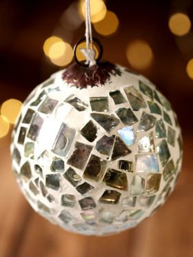 Glass ball, mosaic, 6 cm, silver