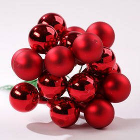 Glass balls on wire, 20-30 mm, red, bunch of 18 pcs, mat/glittered