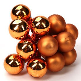 Glass balls on wire, 20 mm, gold, bunch of 24 pcs, mat/glittered
