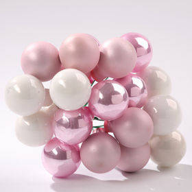 Glass balls on wire, 20mm, pink-white, bunch of 18 pcs, mat/glittered