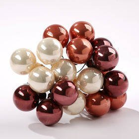 Glass balls on wire, 20mm, shades of creme and brown , bunch of 18 pcs, mat/glittered