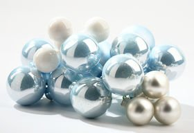 Glass balls on wire, 20mm, shades of white, bunch of 18 pcs, mat/glittered