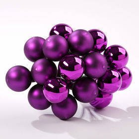 Glass balls on wire, 20mm, shads of purple, bunch of 18 pcs, mat/glittered