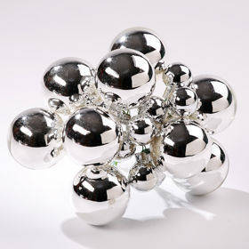 Glass balls on wire, 20mm, silver, bunch of 18 pcs