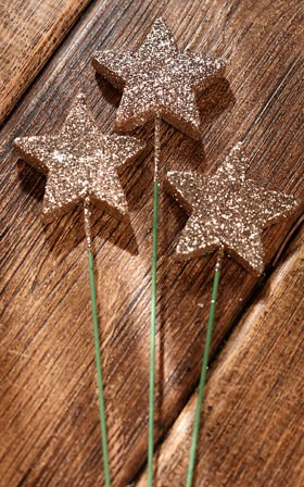 Gliter stars on stick 6 psc./pack. - gold