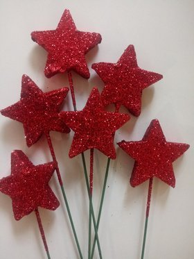 Glitter stars on a wire 6 pcs / pack - Red