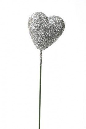Glittered hearts on stick, silver 10 pcs/pkg