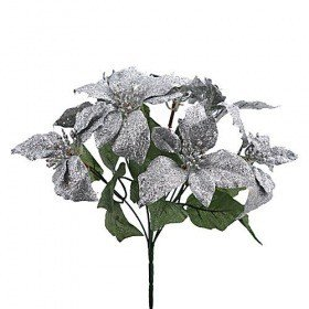 Glittered poinsettia, silver