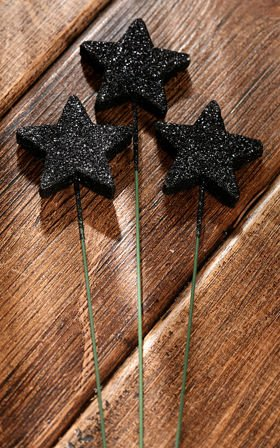 Glittered stars on wire, 6 pcs. /pkg - black