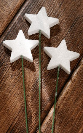 Glittered stars on wire, 6 pcs. /pkg - white