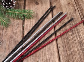 Glittered sticks, 30 cm, 8 pcs/pkg - black