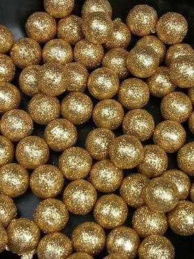 Golden glitter balls 15mm 24 pcs / pack